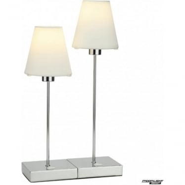 Metz Double table lamp - Chrome with coloured shade