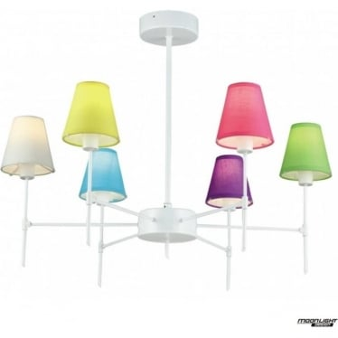 Popova 6 arm pendant - White gloss with Coloured Shades