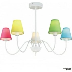 Riley 5 arm pendant - White gloss with coloured shades