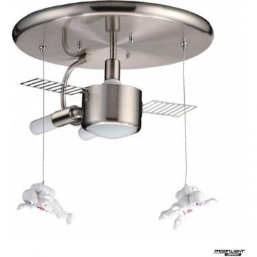 Wellington semi flush LED spaceship light - Satin silver & suspended astronauts