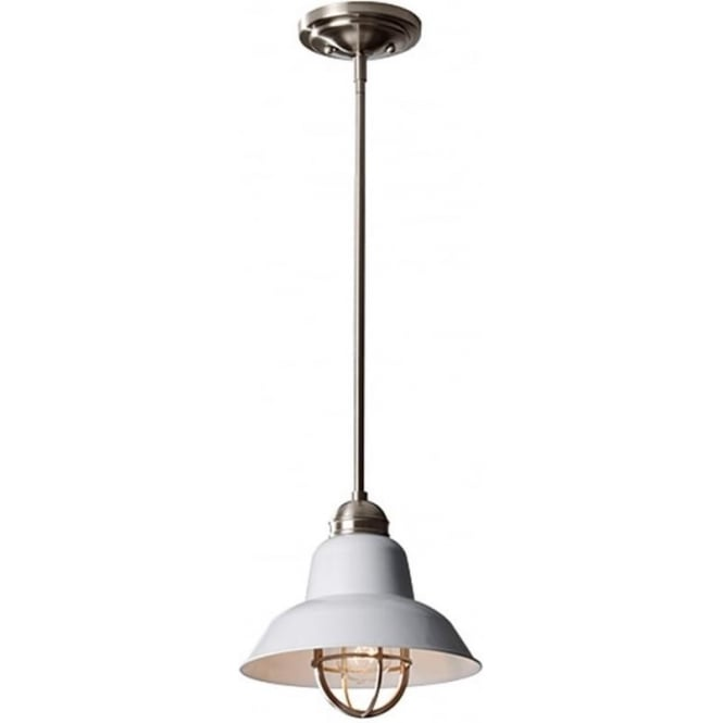 Feiss Urban Renewal Mini Pendant Brushed Steel/Glossy White