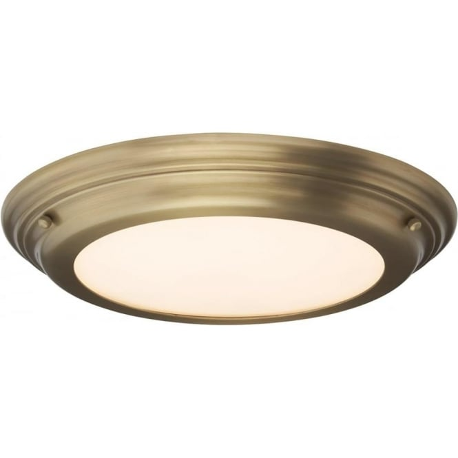 Elstead Lighting Welland Flush Mount Bathroom LED Ceiling Light IP54 Aged Brass