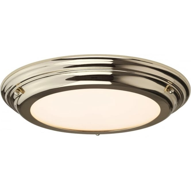 Elstead Lighting Welland Flush Mount Bathroom LED Ceiling Light IP54 Polished Brass