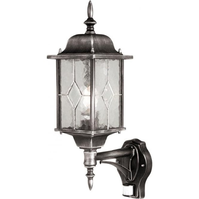 Elstead Lighting Wexford Up Wall Lantern with PIR - Black