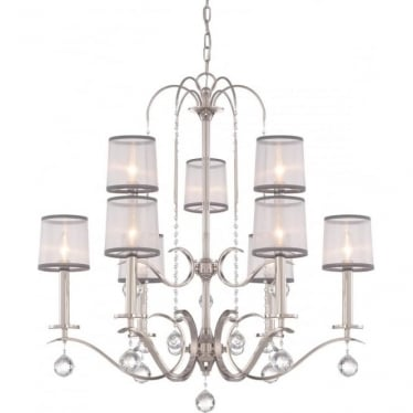 Whitney 9 Light Two Tier Chandelier Imperial Silver