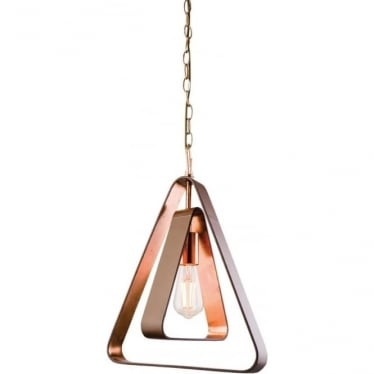 Wilder single pendant - Tan leather & copper leaf