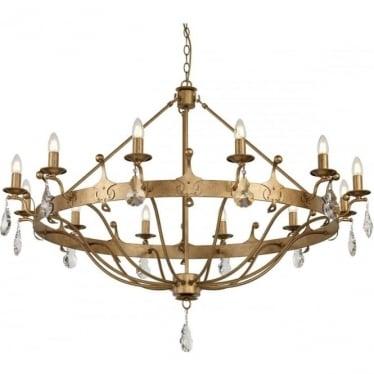 Windsor 12 Light Chandelier Gold Patina
