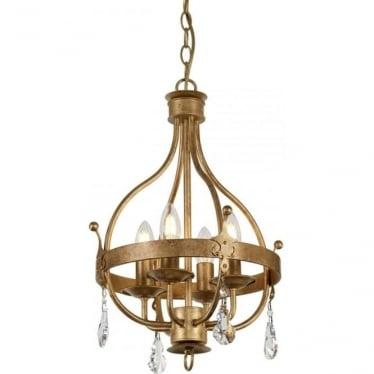 Windsor 4 Light Pendant Gold Patina