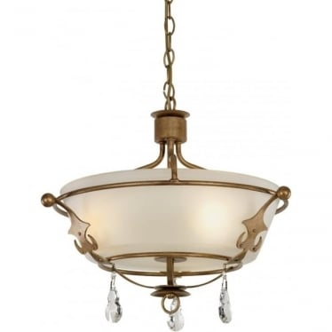 Windsor Semi Flush Ceiling Light Gold Patina