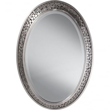 Zara Oval Mirror Brushed Steel